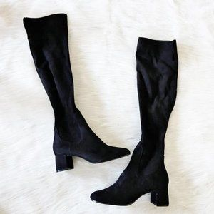 NEW Zara Faux Suede Black Over The Knee Boots